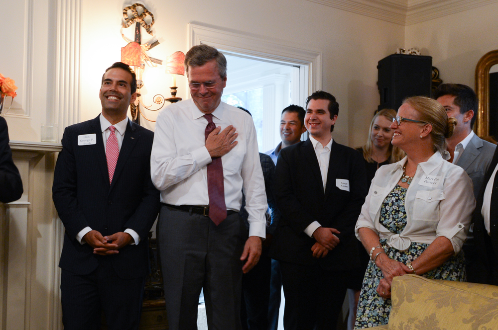 Commissioner George P. Bush and Governor Jeb Bush at a breakfast event in Austin, TX.