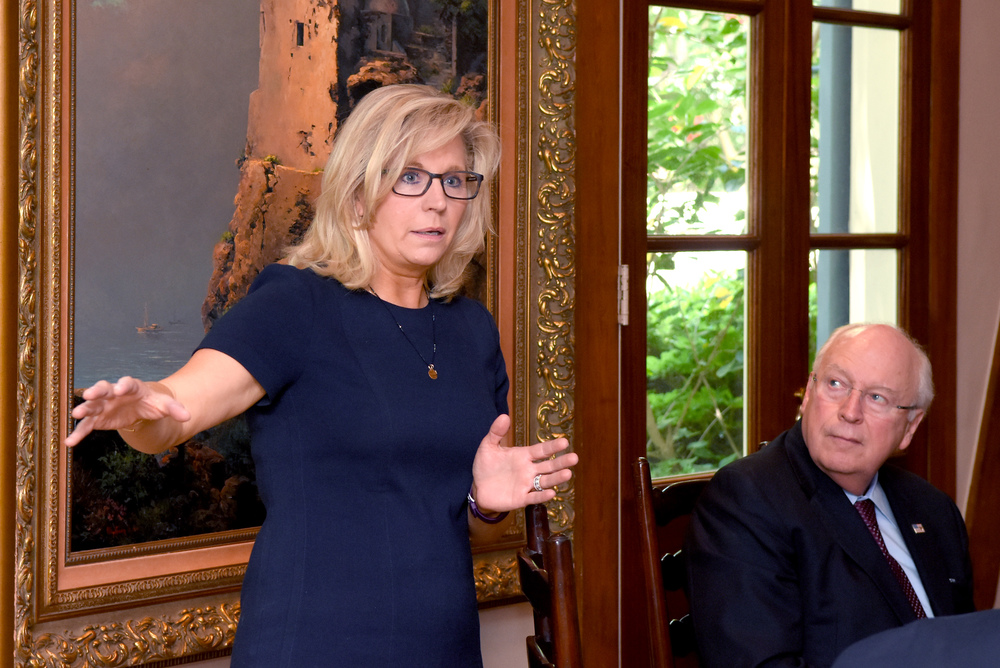 Candidate for Wyoming's At-Large Congressional seat, Liz Cheney speaks to supporters at a San Antonio luncheon while Vice President Dick Cheney looks on, June, 2016.
