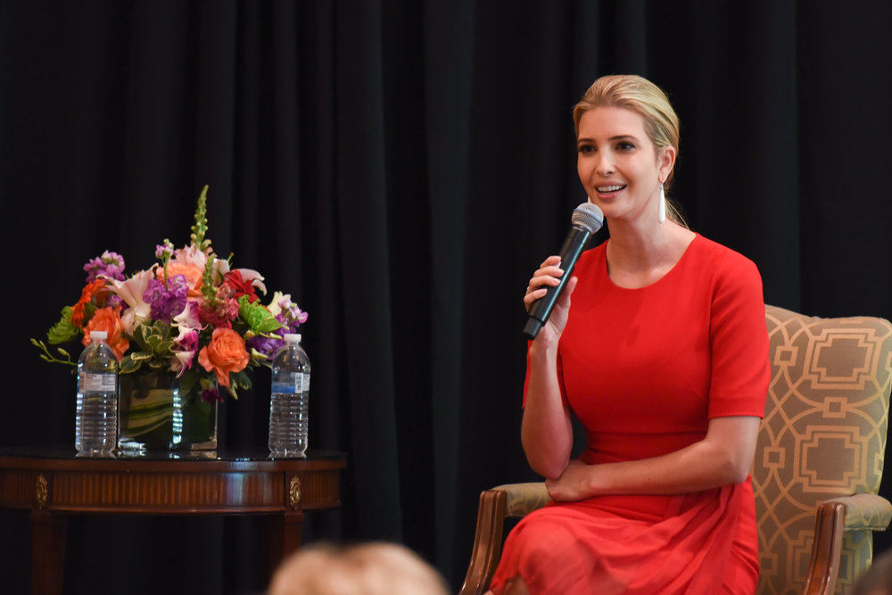 Ivanka Trump answers questions at a Dallas lunch on September 21.