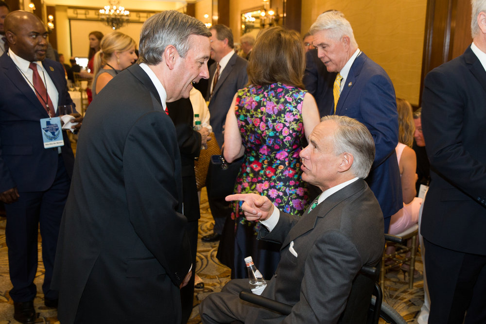 Governor Greg Abbott with Pastor Robert Jeffress at the Trump Victory event on May 31, 2018.
