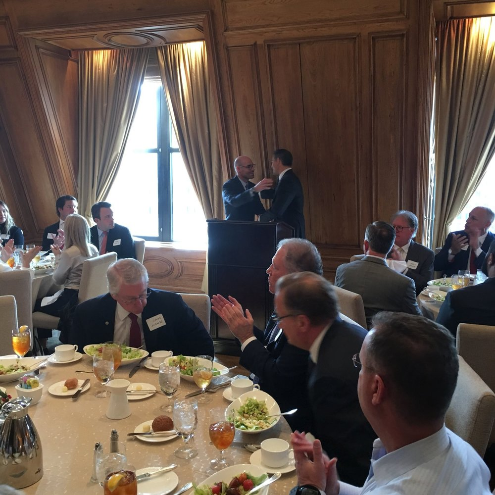 Texas House Speaker Dennis Bonnen and State Representative Morgan Meyer speak at a luncheon at the Crescent Club on December 3, 2018.