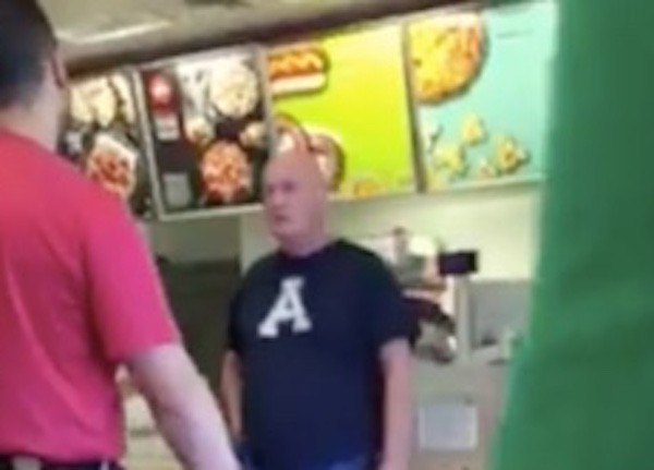 Video footage shows the man berating Target employees too