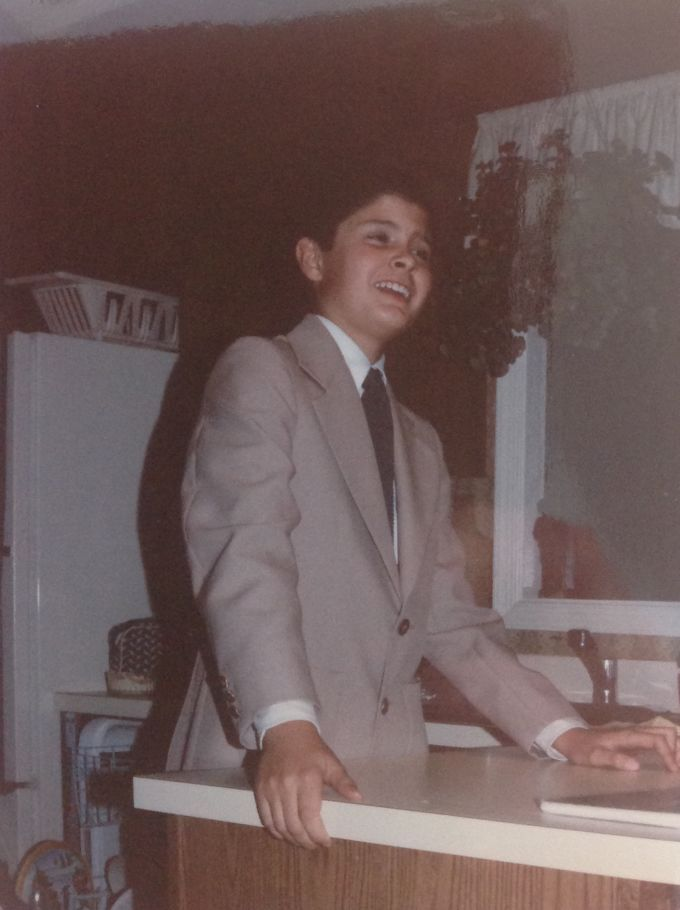 "Here's me, delivering a Ronald Reagan speech, circa 1982. Note the controversial ""tan suit."""