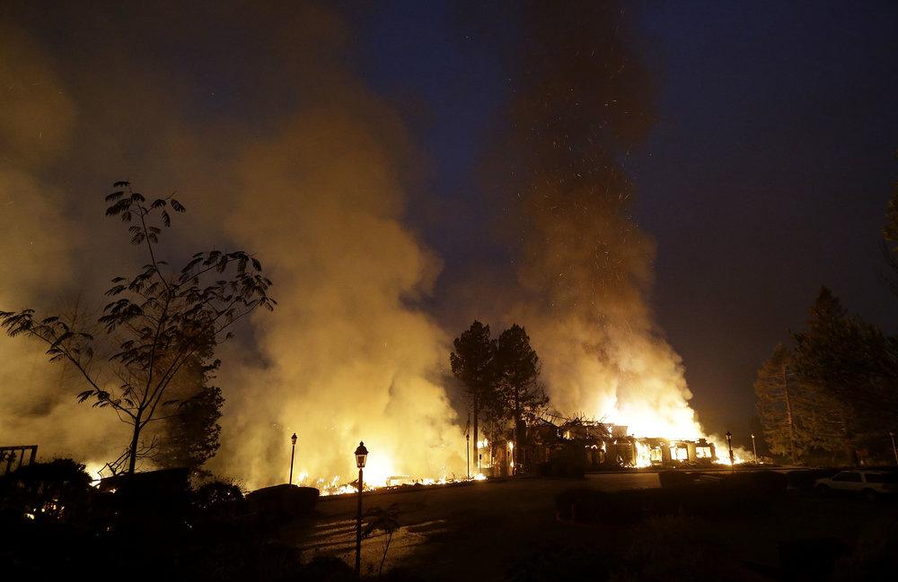 Santa Rosa on fire (via the AP)