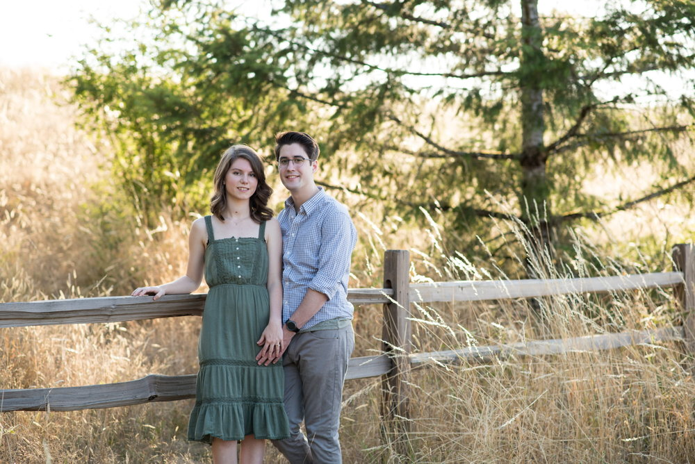 Engaged couple leaning on wooden fence