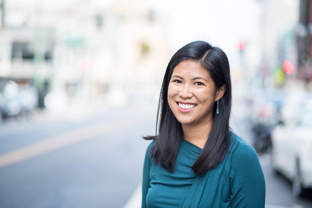 Headshot of woman in downtown Portland