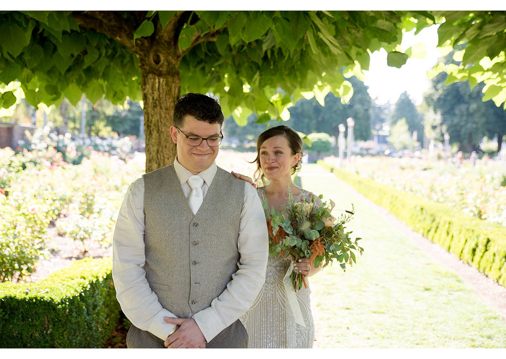 Bride and Groom first look at Peninsula Park Rose Garden