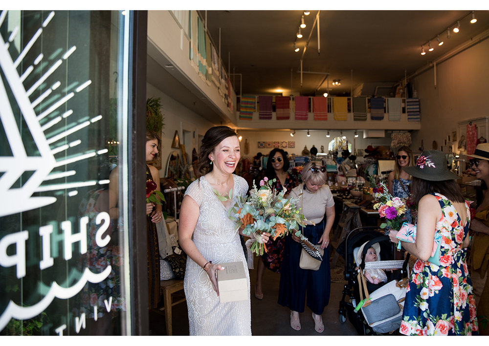 Bride leaving Shipwreck store in Portland