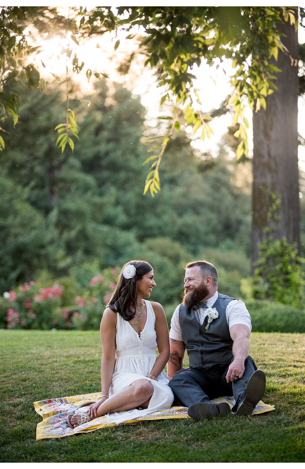 Portrait of bride and groom at Pittock Mansion following elopement