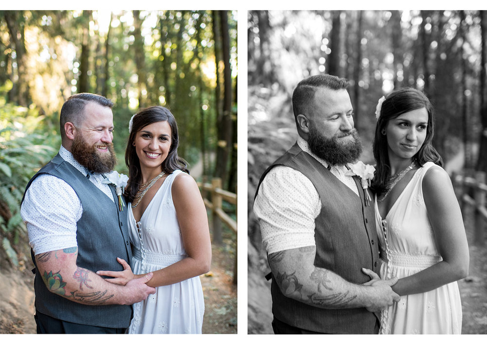 Side by side portraits of bride and groom on wildwood trail