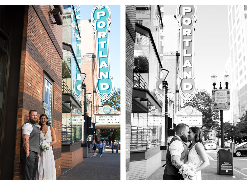 Side by side photos of Bride and Groom in front of Portland marquee