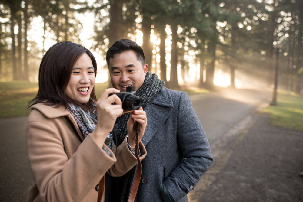Candid of couple taking photo at Mt. Tabor