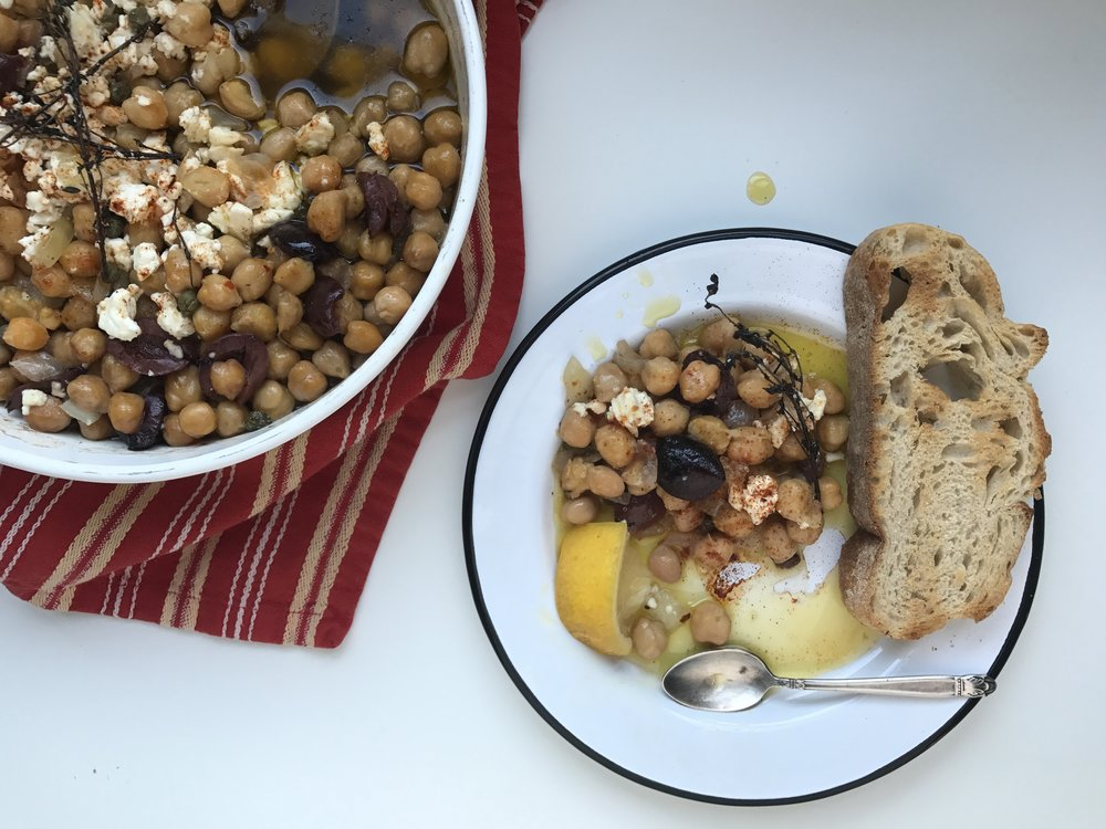 olive oil braised chick peas