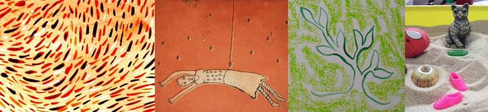 A strip of different artistic images including: 1. Watercolour drawing of patterned lines in rusty red, yellow, magenta and light brown. 2. Etching of woman suspended by a piece of string on a rusty red background with what looks like tears or rain droplets falling around her. 3. Drawing of plant in green crayon and pencil.4. Various objects in a sand tray including small pink dolls shoes,a shell, a gemstone and a cat.  © all images by   Natalya Garden-Thompson, 2016