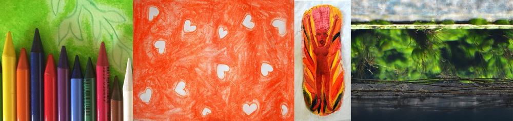 A strip of different artistic images including: 1. Photograph of c oloured woodless pencils lying on a green and white drawing of a plant. 2. Pastel drawing with white love hearts randomly drawn on a orange background. 3.Handmade calico doll of screaming woman with arms stretched out and fire surrounding her, painted in orange, yellow, red and black. 4. Photograph of bright green algae underwater. © all images by   Natalya Garden-Thompson, 2016