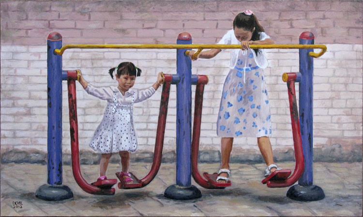 Two Girls on a Chinese Swing. This is an interesting swing that we'd never see in Canada because of little hands getting caught in the odd spaces. But it sure is a good exercise machine! Acrylic on board