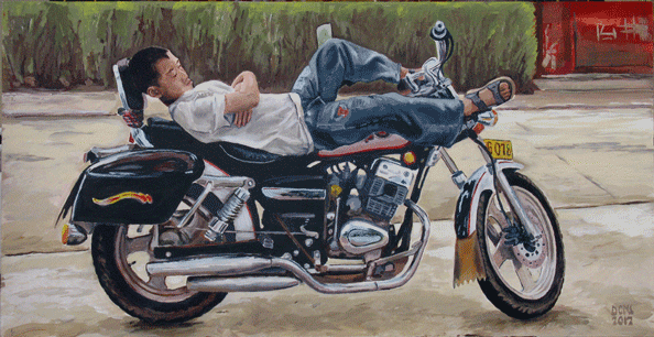 "China Painting - ""Boy sleeping on a motorcycle"". He's obviously not yet enough to ride it, so he's probably guarding it for his older brother or father or uncle while they pick something up in the store. Acrylic on board"
