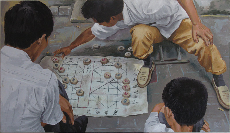 "China Painting - ""Men playing Chinese Chess"" in the middle of a busy street, on a homemade paper ""board"" game. Acrylic on board"