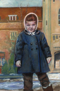 This is a chalk pastel that I made at the University of Guelph, of me as a child standing in front of a University of Guelph building.
