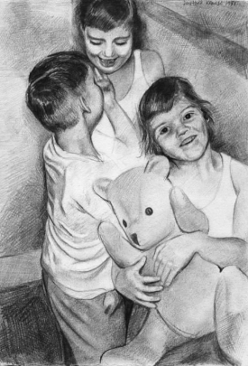 A drawing I made around 1980 of my sister (Claudia) and brother (Michael) and me, from the time we used to share a bedroom!