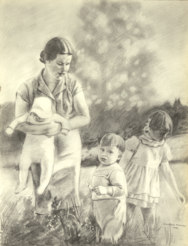 Another pencil drawing from around 1980 of my mom with the older 3 kids (me in her arms). My younger brother (Andreas) was born a few years later.