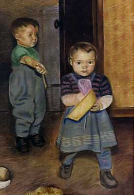Another chalk pastel (done around 1980)of me taking a toy away from my brother (oops!)