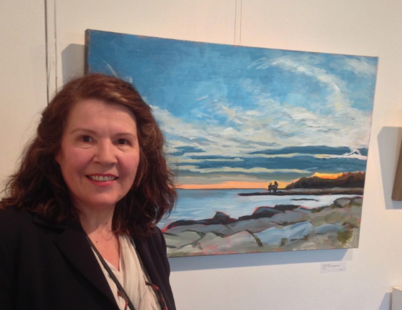 "(me with my painting ""Distant (or Embracing) Trees at Peggy's Cove"" hanging at Visual Voice Fine Art)"