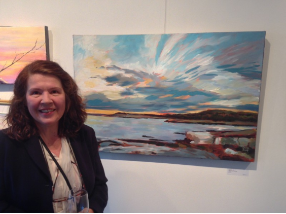 "(me with my painting ""Nearer to Heaven"" hanging at Visual Voice Fine Art)"
