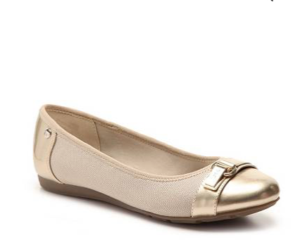 This is a great versatile shoe. Though it is neutral, the gold detailing at the toe as a little something extra to this shoe that helps it pop.