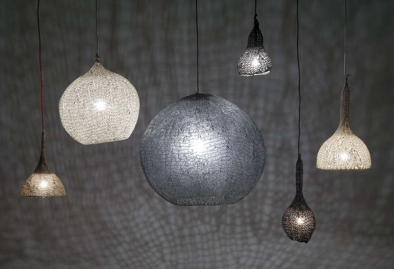 Designed by Edvard & Steenfatt, these lamps are made of meshed knitting in various colours, sizes and shapes.