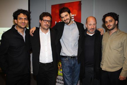 Photos: (from left to right) Cinema Tropical's Carlos A. Gutiérrez with nominated and winning filmmakers Kleber Mendonça Filho, Matías Meyer, Jose Álvarez and Gastón Solnicki.