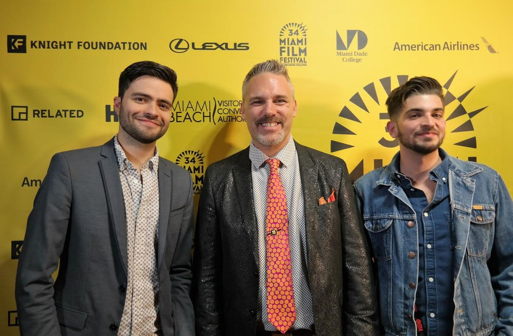(From left to right) Producer and DP Rodrigo Michelangeli; Miami International Film Festival's Jaie Laplante and director Jorge Thielen Armand (Photo courtesy of the Miami International Film Festival).