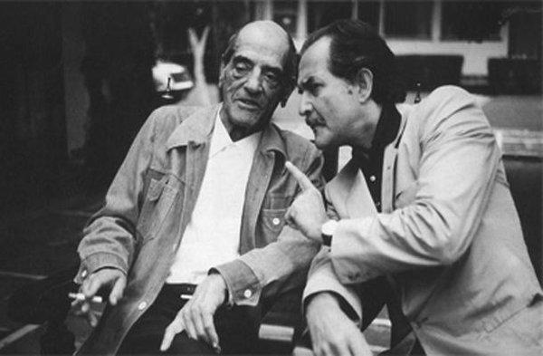Filmmaker Luis Buñuel with Carlos Fuentes