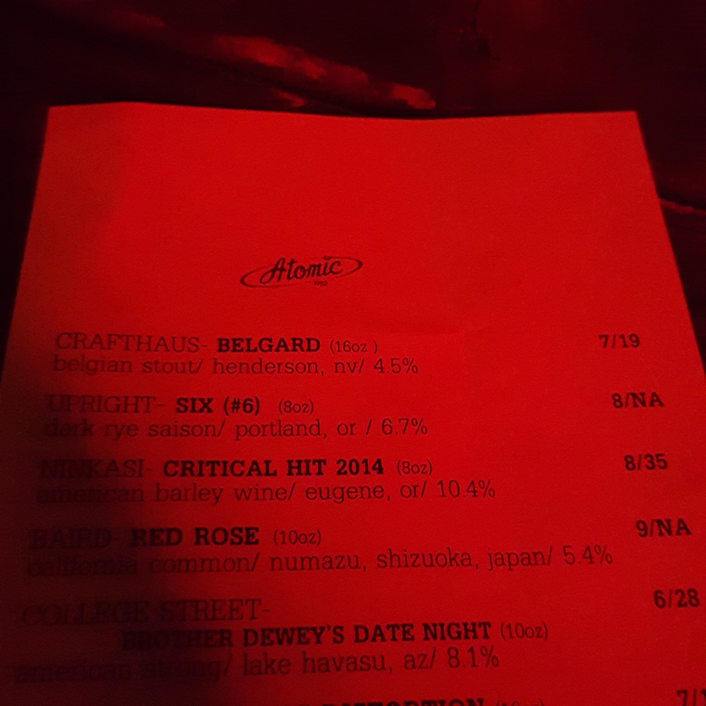 Great atmosphere and beer list at Atomic in Downtown Vegas.