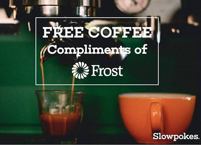 FREE COFFEE drinks TOMORROW, Thursday, December 20th from 7:30-9:30am compliments of @frostbank! Come enjoy any coffee/tea drink of your choice. See you tomorrow morning!  #frostbank #freecoffee #houstoncoffeeshop #coffeeshop #coffee #slowpokes #slowpokeseverywhere #slowpokes_htx #houston #local #htxlocalpeople #craft #espresso #latte #localbeer #beer #wine #HTXlocalpeople #breakfast #houstononthecheap #freebies #free  #houstonfreebies