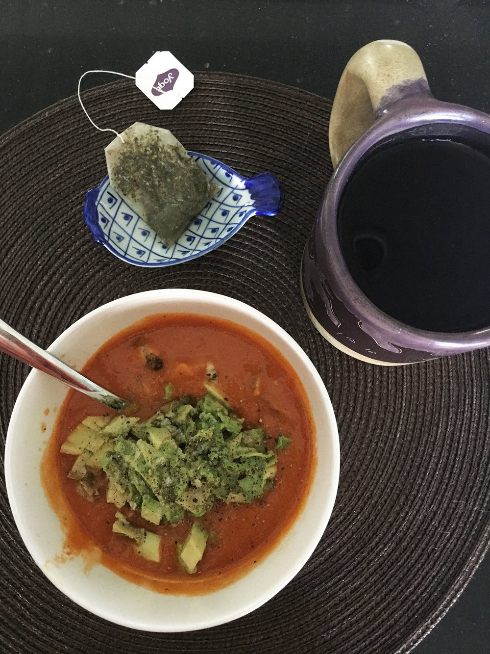 CHIPOTLE BUTTERNUT SQUASH AND TOMATO SOUP WITH AVOCADO AND LIME