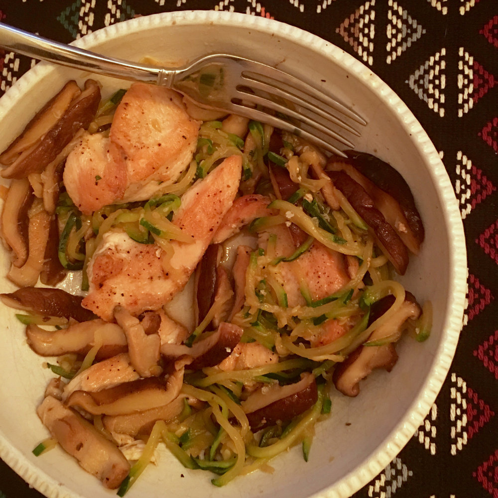 SAUTEED CHICKEN WITH SHIITAKE MUSHROOMS AND ZUCCHINI NOODLES