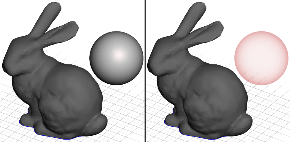 Left: SPHERe object is selected and visible. Right: Sphere object is selected and invisible.