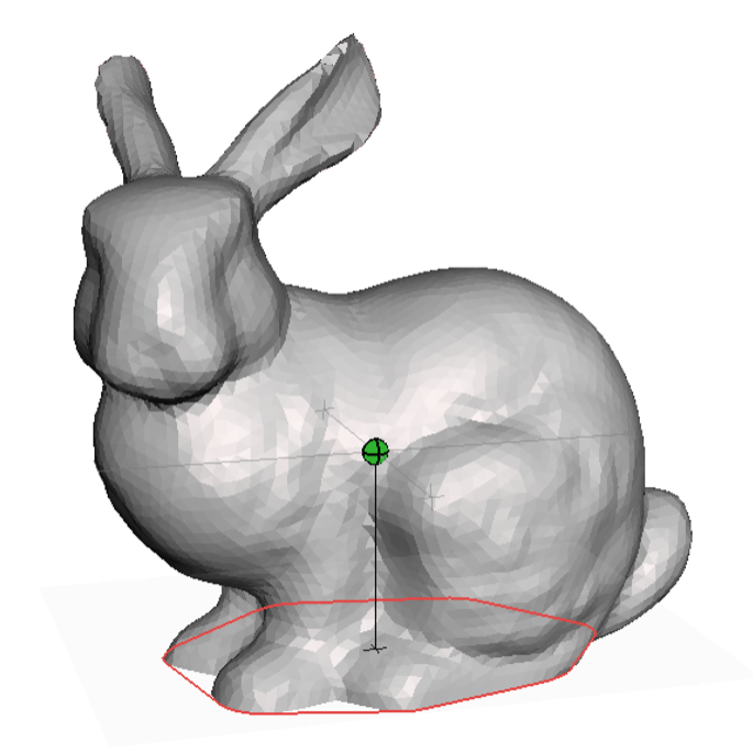 The Center of mass is shown in green, and the contact region is show as a red outline. The center of mass projected onto the ground plane is inside the contact region, so this bunny is stable.