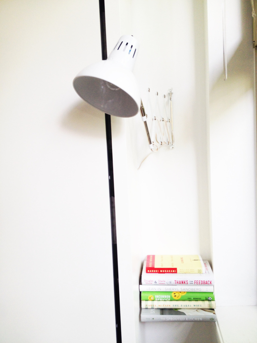 Unexpected and expected things you lose when you lose your bedroom: bedside table bedside lamp chair to throw your clothes on a bed to throw your clothes on closet somewhere to put your jewelry laundry basket dresser shelf: umbra // vintage accordian lamp: etsy