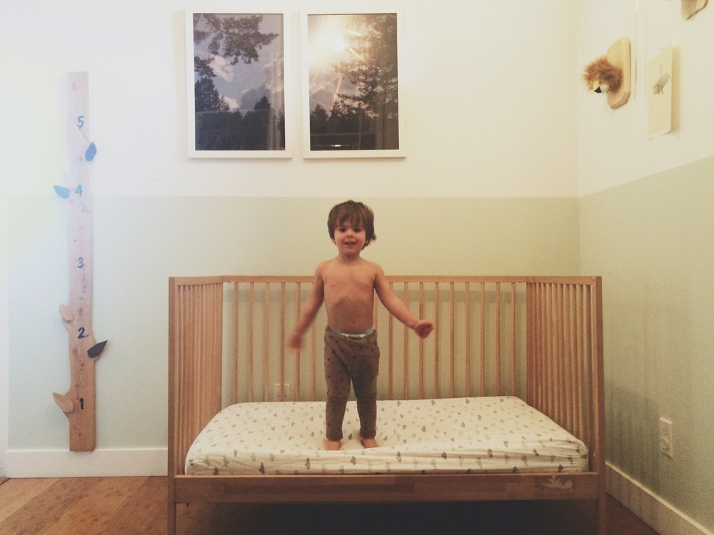Ikea Sniglar Crib converted to toddler bed