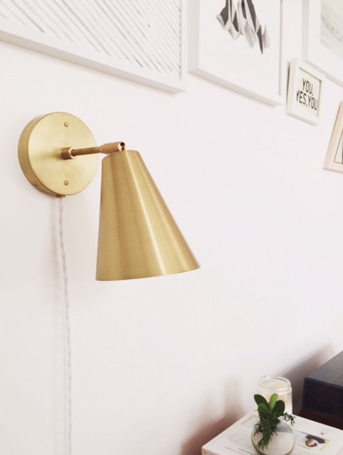 The sconce is wall-mounted but plug-in so easy to move around the home.
