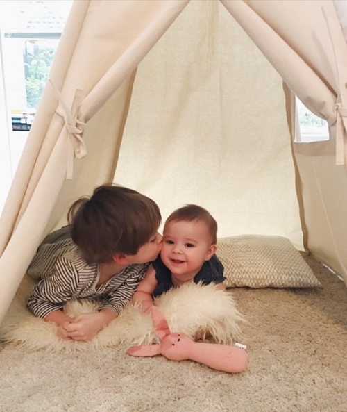 this moment...my heart.  In the teepee with Mae's Tuk and Milo Bunny