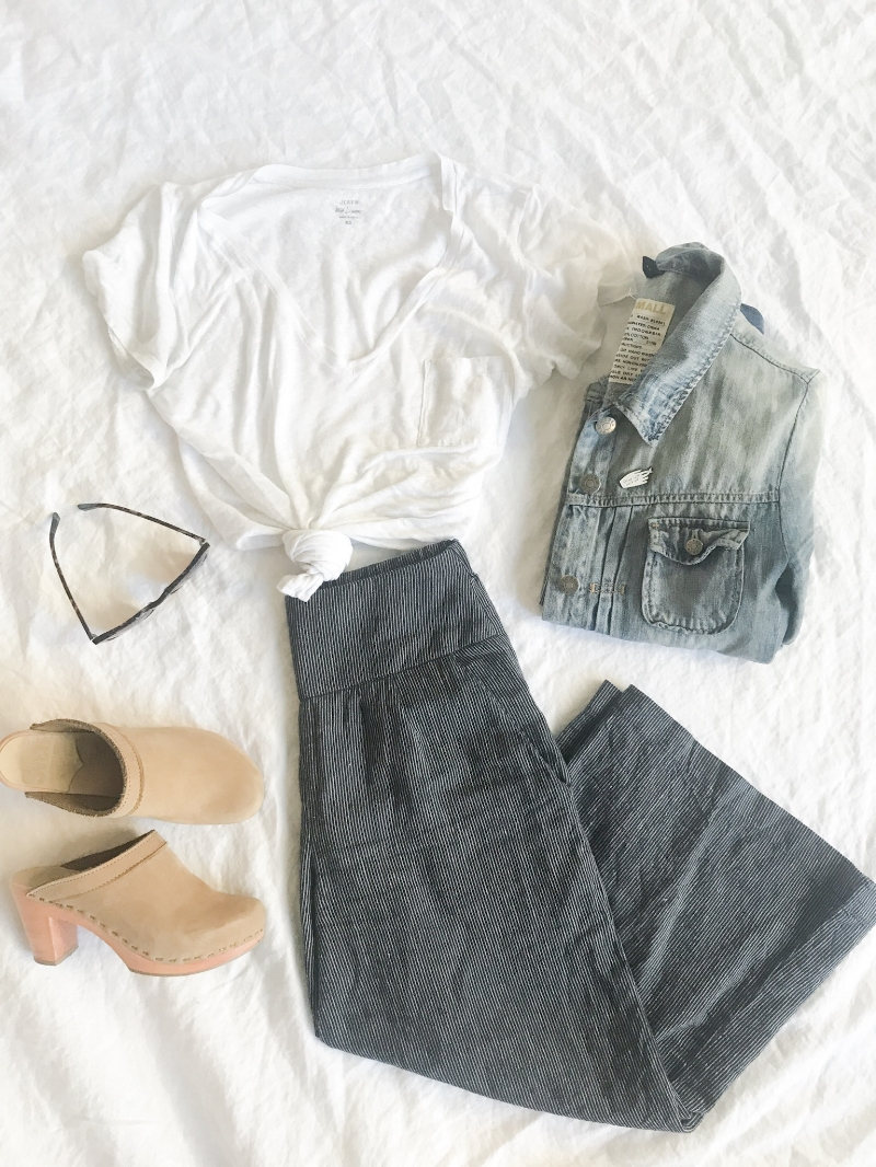 White Tee, Jean Jacket, Clogs,  Devons Drawer Linen Culottes ,