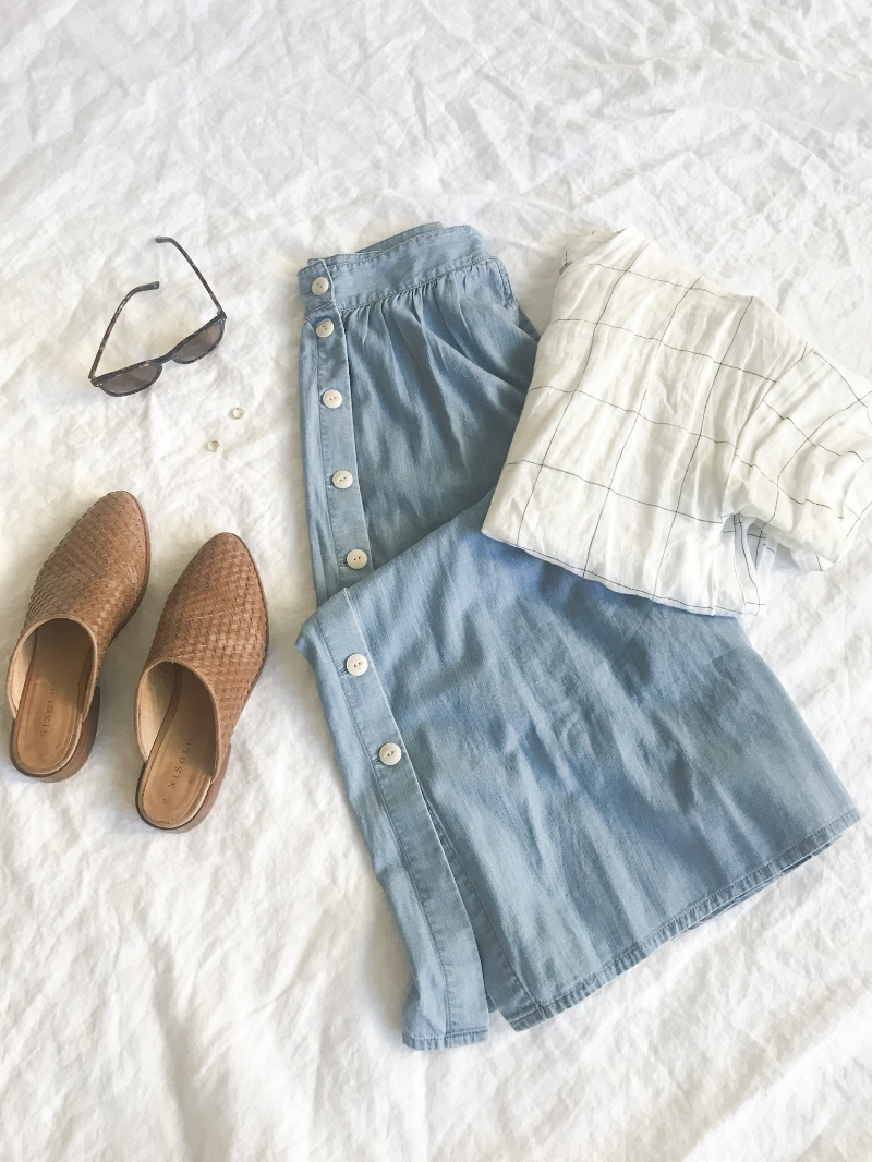 Muji shirt, Chambray Madewell skirt, Nisolo Mules, Bailey Nelson Sunglasses