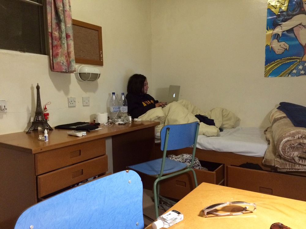 Our home for the next eight weeks! Ft.Heba being studious (but really checking her Facebook).