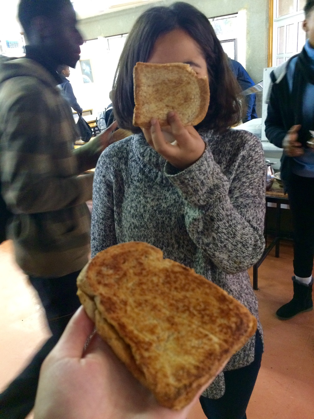 Heba, ft. our perfectly grilled 9am pb&j sandwiches! The blurry boy in green is one of the two students in our Cultural Literacy class—he'll be studying at Taft for his final year of high school this fall!