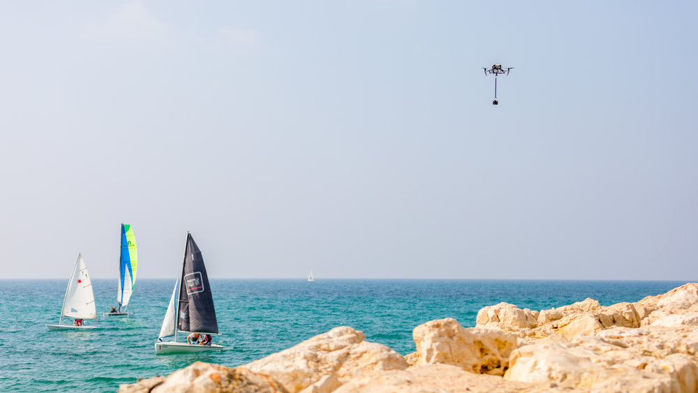 Taking up the Obsidian array over the beautiful beaches of Tel Aviv.  Photo Credit: Jeffrey Moustache