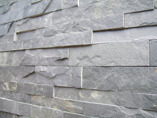 23. Dark grey stacker stone for decorative walls. 25mm thickness. Perfect for amateur renovator. Tile size 150x600mm