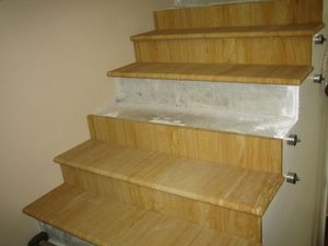 41. Wood grain sandstone slabs cut to create beautiful interior steps. av. thickness 20mm, 30mm, 40mm